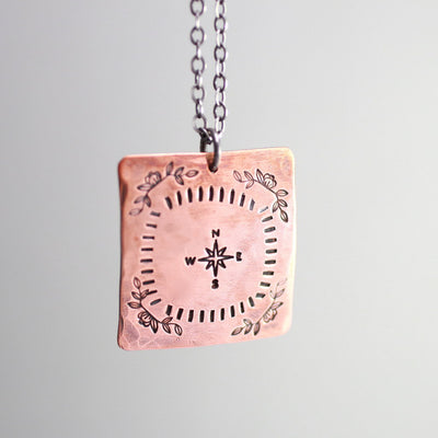 Copper Rose Compass Necklace- Womens Compass Necklace-Womens-LittleGreenRoomJewelry-LittleGreenRoomJewelry