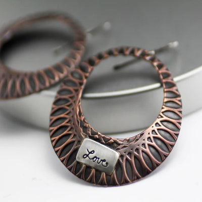Womens Rustic Copper Hoop Earrings- Artisan Hoop Earrings-Womens Rustic-LittleGreenRoomJewelry-LittleGreenRoomJewelry