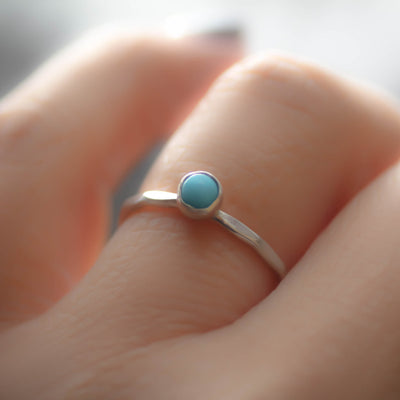 Turquoise Ring, Sterling Silver Stack Ring-Womens-LittleGreenRoomJewelry-LittleGreenRoomJewelry