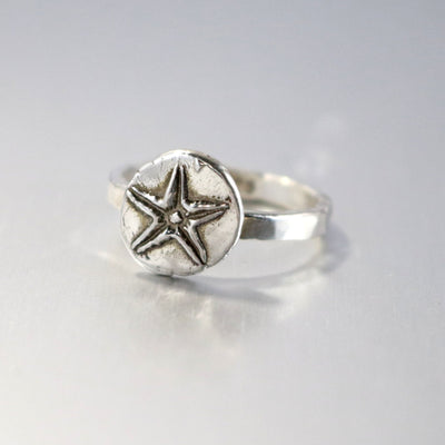 Sterling Silver Artisan Star Fish Ring- Sea Star Ring- Ocean Tide Ring-Womens-LittleGreenRoomJewelry-LittleGreenRoomJewelry
