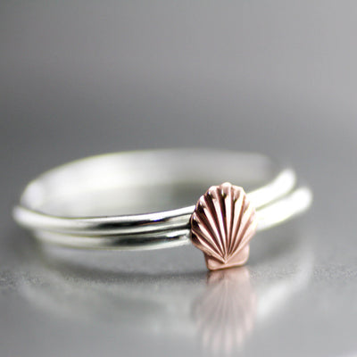 Sterling Silver Copper Sea Shell Stack Rings-Womens-LittleGreenRoomJewelry-LittleGreenRoomJewelry