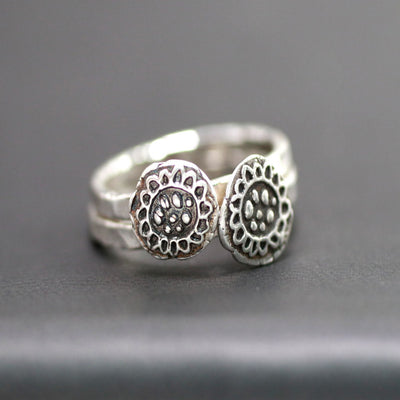 Sweet Sterling Silver Sunflower Stack Ring-Womens-LittleGreenRoomJewelry-LittleGreenRoomJewelry