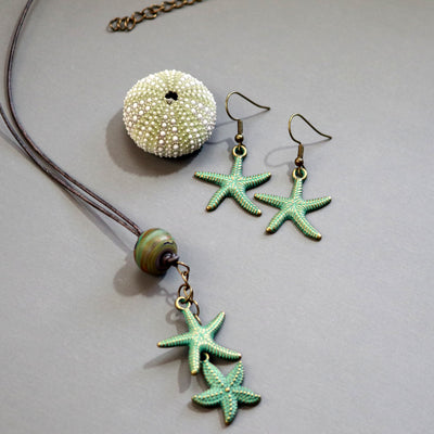 Painted Starfish Necklace-Womens-LittleGreenRoomJewelry-LittleGreenRoomJewelry