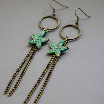 Painted Star Fish Earrings-Womens-LittleGreenRoomJewelry-LittleGreenRoomJewelry