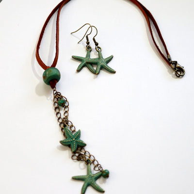 Ocean Tide Pool Starfish Necklace And Earrings Set-Womens-LittleGreenRoomJewelry-LittleGreenRoomJewelry