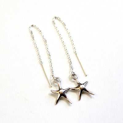 Sterling Starfish Threader Earrings-Womens-LittleGreenRoomJewelry-LittleGreenRoomJewelry