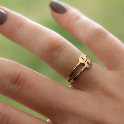 Cupids Personalized Gold Arrow Stacking Ring-Womens-LittleGreenRoomJewelry-LittleGreenRoomJewelry