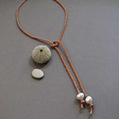 Fresh Water Pearl Lariat Necklace-Womens-LittleGreenRoomJewelry-LittleGreenRoomJewelry