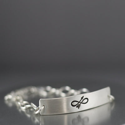 Sterling Silver Infinity Arrow Bracelet-Womens-LittleGreenRoomJewelry-LittleGreenRoomJewelry