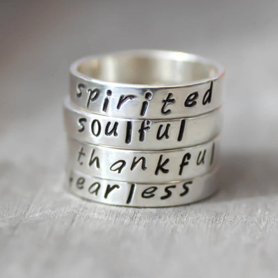 Personalized Custom Word Rings-Sterling Silver Name Rings-Womens-LittleGreenRoomJewelry-LittleGreenRoomJewelry