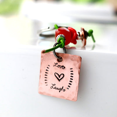 Love And Laugh Lampwork Glass Bead Key Chain-Womens-LittleGreenRoomJewelry-LittleGreenRoomJewelry