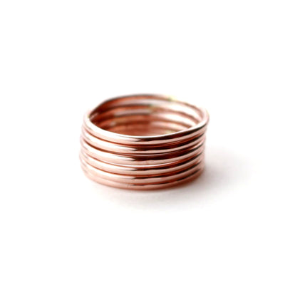 Rose Gold Rings Set Of 2-Womens-LittleGreenRoomJewelry-LittleGreenRoomJewelry