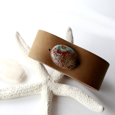 Coastal Canyon Leather Cuff Bracelet-Womens-LittleGreenRoomJewelry-LittleGreenRoomJewelry