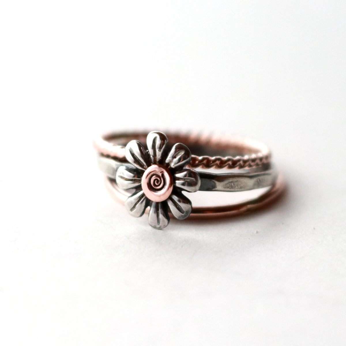 Boho Silver Daisy Flower Ring Set-Womens-LittleGreenRoomJewelry-LittleGreenRoomJewelry