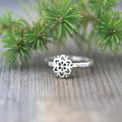 Womens Silver Snowflake Stack Ring-Womens-LittleGreenRoomJewelry-LittleGreenRoomJewelry