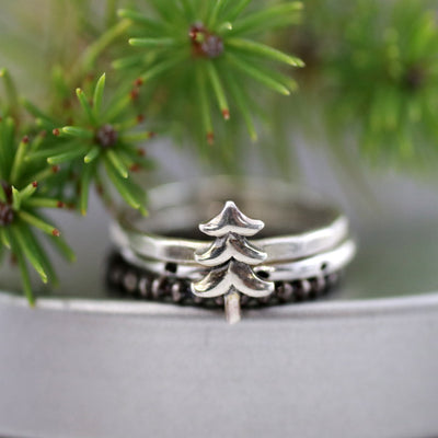 Northwoods Pine Tree Christmas Ring-Womens-LittleGreenRoomJewelry-LittleGreenRoomJewelry