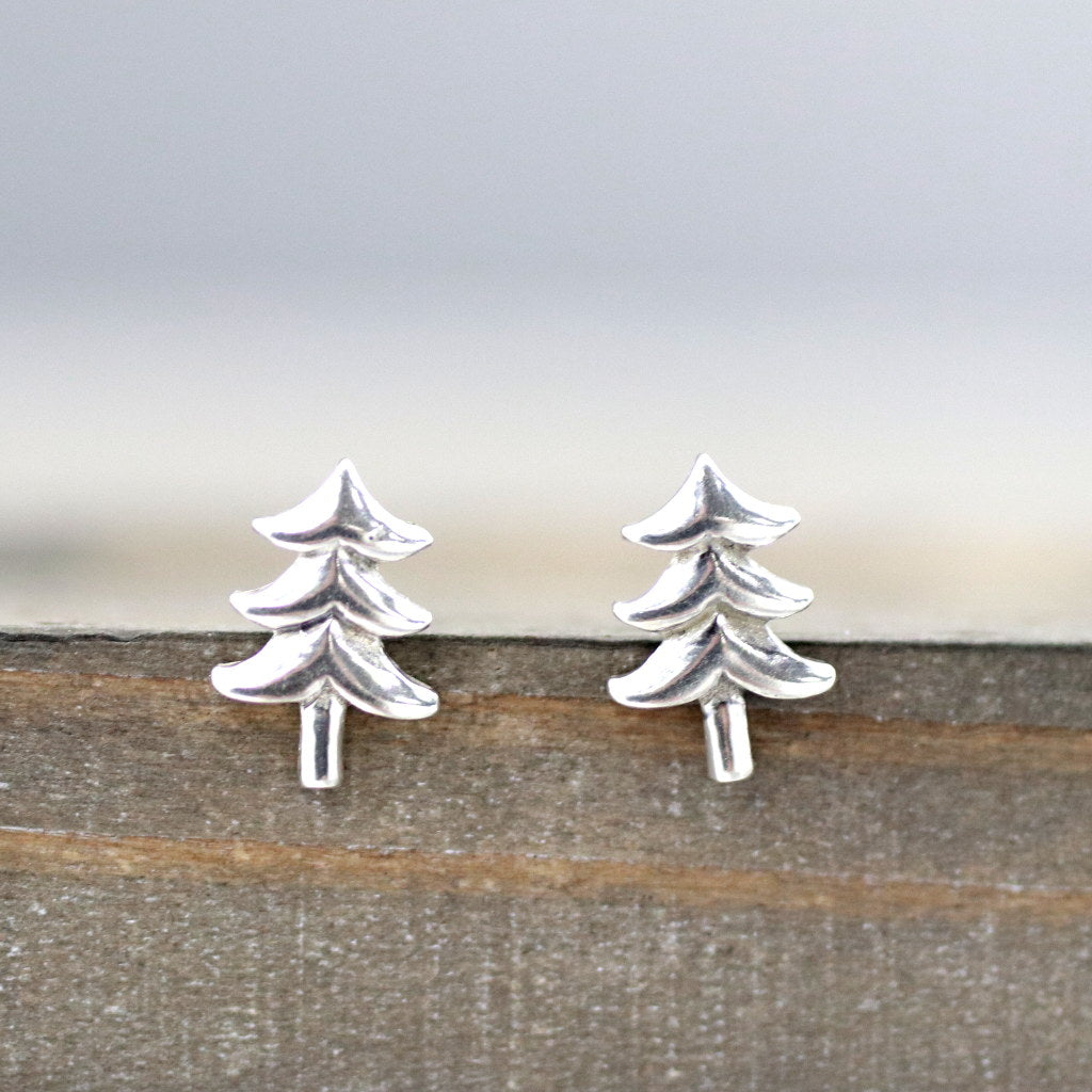 Evergreen Tree Sterling Silver Stud Earrings-Womens-LittleGreenRoomJewelry-LittleGreenRoomJewelry
