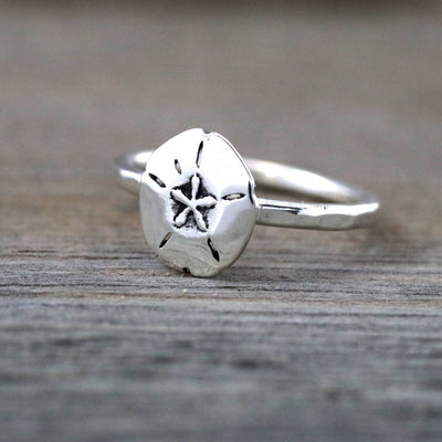 Sterling Silver Sand Dollar Stacking Ring-Womens-LittleGreenRoomJewelry-LittleGreenRoomJewelry