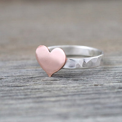 Copper Heart Sterling Silver Hammered Ring-Womens-LittleGreenRoomJewelry-LittleGreenRoomJewelry