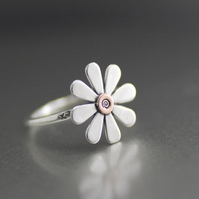 Sweet Silver Daisy Ring-Womens-LittleGreenRoomJewelry-LittleGreenRoomJewelry