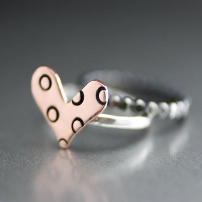 Polka dot Heart Stack Ring- Copper Heart Sterling Silver Ring-Womens-LittleGreenRoomJewelry-LittleGreenRoomJewelry