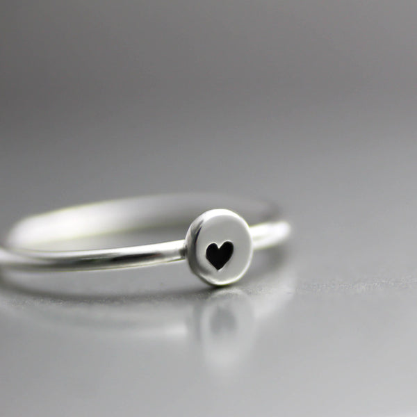 Little Heart Stacking Ring- Sterling Heart Ring-Womens-LittleGreenRoomJewelry-LittleGreenRoomJewelry