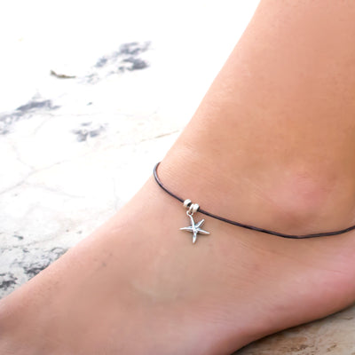 Little Sterling Starfish Ankle Bracelet-Womens-LittleGreenRoomJewelry-LittleGreenRoomJewelry