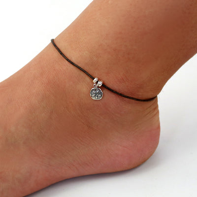 Sterling Sand Dollar Leather Ankle Bracelet-Womens-LittleGreenRoomJewelry-LittleGreenRoomJewelry