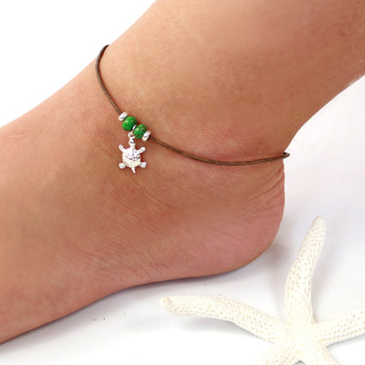 Sterling Silver Turtle Leather Ankle Bracelet-Womens-LittleGreenRoomJewelry-LittleGreenRoomJewelry