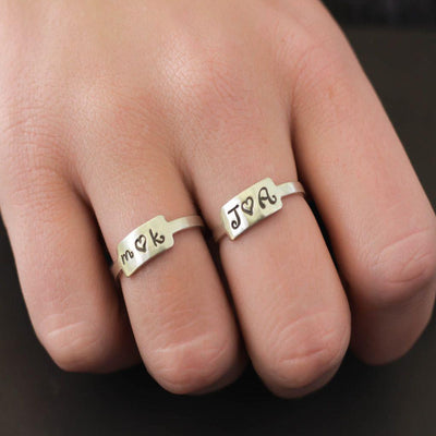 Silver Sweetheart Rings- Anniversary Rings- Sterling Silver Initial Ring- Love Ring-Womens-LittleGreenRoomJewelry-LittleGreenRoomJewelry