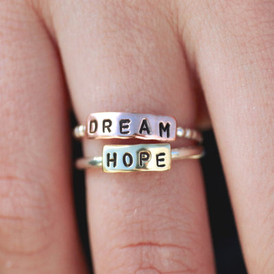 Custom Word Ring Or Custom Name Personalized Stacking Ring-Womens-LittleGreenRoomJewelry-LittleGreenRoomJewelry