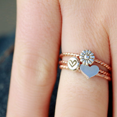 Rose Gold Twisted Band Ring In Your Choice of Sunflower, Embossed Heart, Or Heart-Womens-LittleGreenRoomJewelry-LittleGreenRoomJewelry