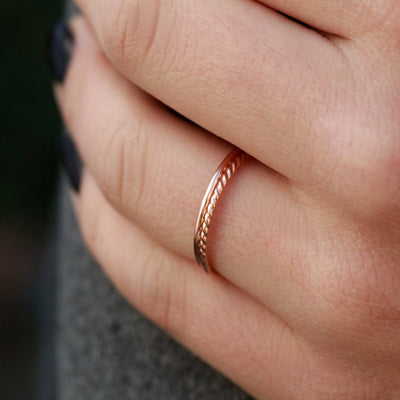 Minimalist Rose Gold Filled Stack Ring Set Of 2-Womens-LittleGreenRoomJewelry-LittleGreenRoomJewelry