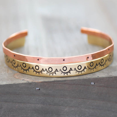 Boho Mandala Bracelet - Copper Cuff- Brass Cuff Bracelet- Set Of 2 Bracelets-Womens-LittleGreenRoomJewelry-LittleGreenRoomJewelry