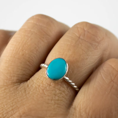 Genuine Kingman Turquoise Stacking Ring-Womens-LittleGreenRoomJewelry-LittleGreenRoomJewelry