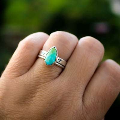 Genuine South Hill Turquoise Ring Set-Womens-LittleGreenRoomJewelry-LittleGreenRoomJewelry