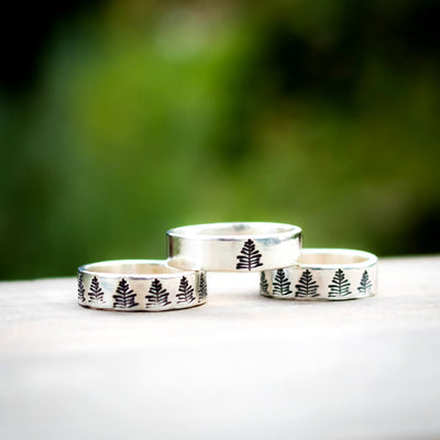 Winter Pine Tree Ring-Womens-LittleGreenRoomJewelry-8.5-LittleGreenRoomJewelry