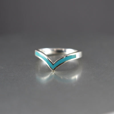Turquoise Chevron Stacking Ring-Womens-LittleGreenRoomJewelry-LittleGreenRoomJewelry