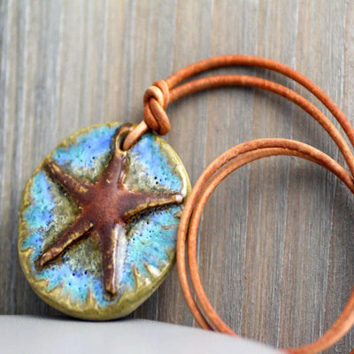 Sea Star Leather Necklace-Womens-LittleGreenRoomJewelry-LittleGreenRoomJewelry
