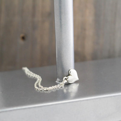 Sterling Silver Modern Heart Necklace- Womens Heart Charm Necklace-Womens-LittleGreenRoomJewelry-LittleGreenRoomJewelry