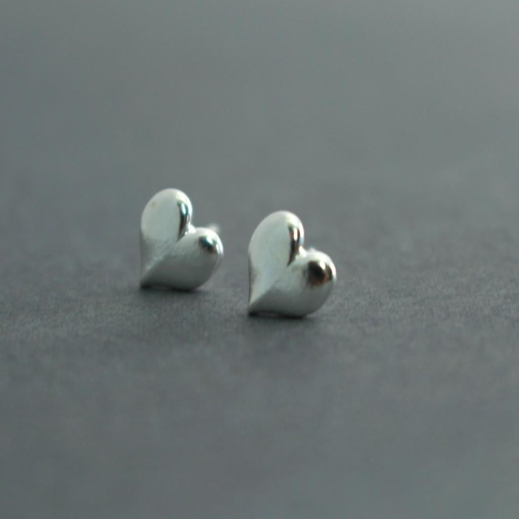 Sterling Silver Heart Stud Earrings-Womens-LittleGreenRoomJewelry-LittleGreenRoomJewelry