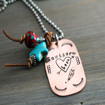 Southern Born Womens Dog Tag Necklace-Womens-LittleGreenRoom-LittleGreenRoomJewelry