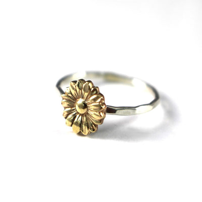 Sunflower Stack Ring- Sterling Silver Stack Ring-Personalized Ring-Womens-LittleGreenRoomJewelry-LittleGreenRoomJewelry