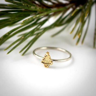 Gold Christams Tree Ring-Womens-LittleGreenRoomJewelry-LittleGreenRoomJewelry