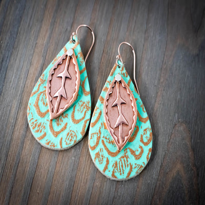 Copper Leaf Leather Earrings-Womens-LittleGreenRoomJewelry-LittleGreenRoomJewelry