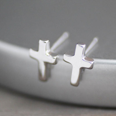 Cross Stud Earrings-Womens-LittleGreenRoomJewelry-LittleGreenRoomJewelry