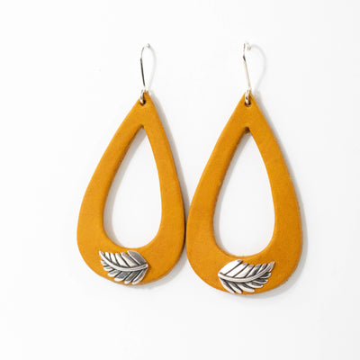 Yellow Silver Leaf Leather Earrings-Womens-LittleGreenRoomJewelry-LittleGreenRoomJewelry