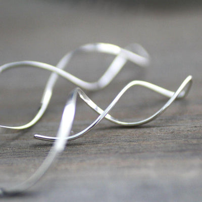 Modern Sterling Silver Twisted Vine Earrings-womens-LittleGreenRoomJewelry-LittleGreenRoomJewelry