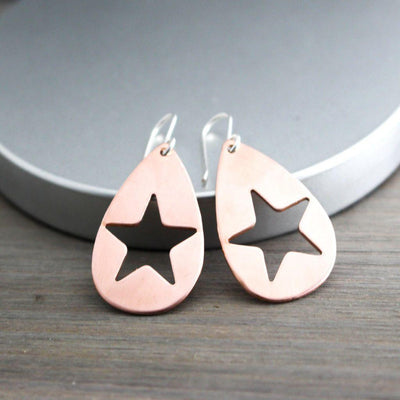 Copper Rock Star Earrings- Womens Star Earrings-Mod Copper Star Earrings-Womens-LittleGreenRoomJewelry-LittleGreenRoomJewelry
