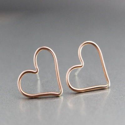 Rose Gold Heart Stud Earrings- Womens Heart Earrings-Womens-LittleGreenRoomJewelry-LittleGreenRoomJewelry